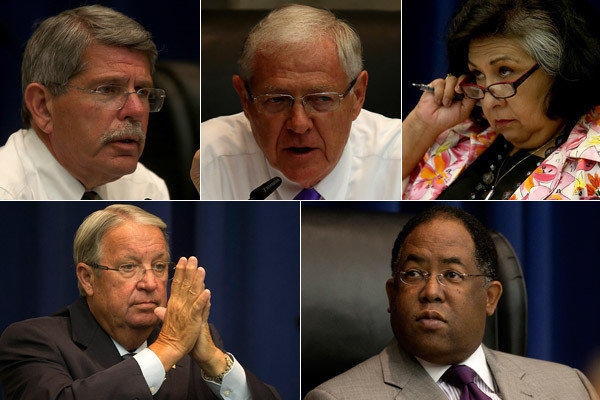 Clockwise from top left are Los Angeles County supervisors Zev Yaroslavsky, Michael D. Antonovich, Gloria Molina, Mark Ridley-Thomas and Don Knabe.