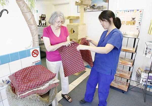 Phyllis Palmer, left, delivers a stack of hand-made cat beds to Kieu Truong of the National Cat Protection Society in Newport Beach. Palmer's sewing group from Vintage Senior Living also gives to other charities and projects.