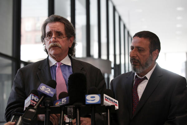 From left, Defense attorney Thomas Durkin and father of the defendant Adel Daoud, speak with members of the press before attending a hearing for Daoud at the Dirksen U.S. Courthouse on Sept. 17, 2012.
