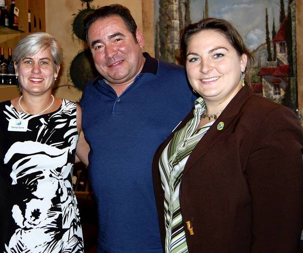 Commissioner Cheryl Grieb, Emeril Lagasse and Commissioner Sara Shaw visited restaurants in downtown Kissimmee on Friday.