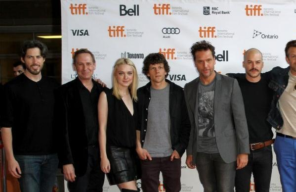 "Director Jason Reitman, from left, and actors Scott Thompson, Dakota Fanning, Jesse Eisenberg, Dane Cook, Marc-Andre Grondin, Jason Sudeikis, Olivia Wilde, Josh Brolin, Jordan Hayes and Jarod Einsohn at the live read of ""Boogie Nights"" at the Toronto International Film Festival."