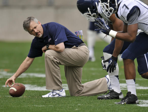 T.J. Weist is in his first season as UConn's offensive coordinator. (Brad Horrigan)