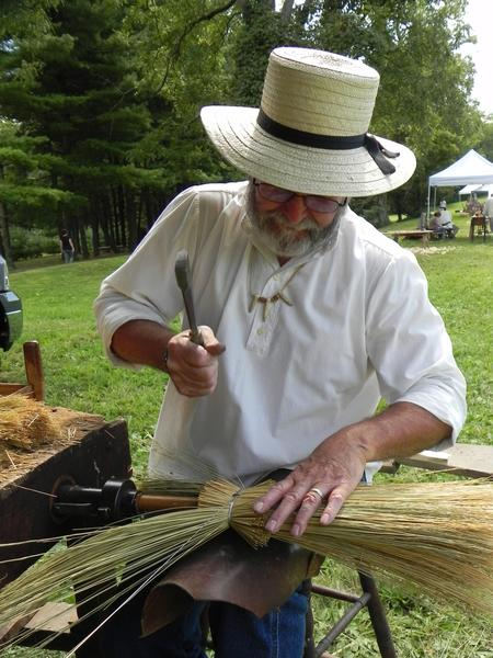 Tony Campbell of Loysville, Pa., demonstrated the fine art of broommaking at Heritage Day at Renfrew Museum and Park in Waynesboro, Pa. on Saturday.