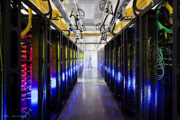 This undated photo made available by Google shows the campus-network room at a data center in Council Bluffs, Iowa. Routers and switches allow Google's data centers to talk to each other.