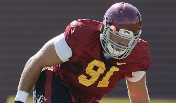 Morgan Breslin, shown at practice this summer, led USC with 13 sacks last year.