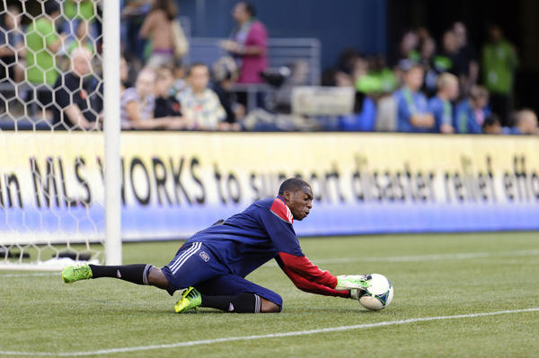 Fire goalkeeper Sean Johnson against the Sounders at CenturyLink Field.