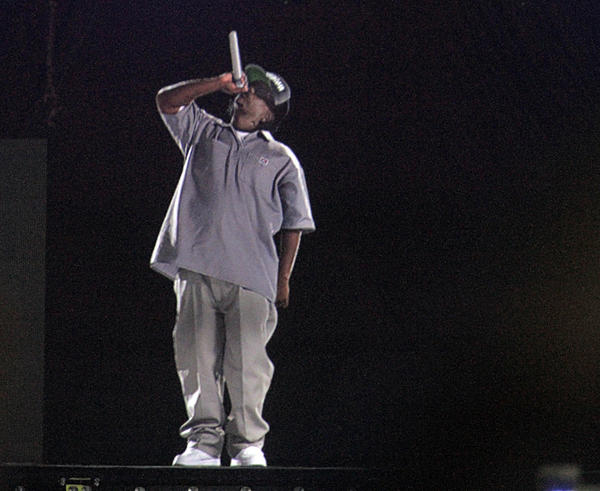The hologram of Eazy-E incorporated in the performance of Bones Thugs-n-Harmony on Day 1 of Rock the Bells on Saturday at San Manuel Amphitheatre in San Bernardino.
