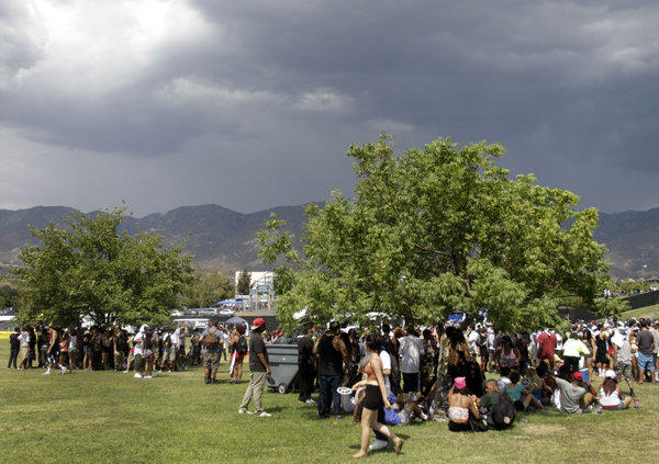 Tree shade provided a bit of heat relief for festival-goers on the first day of the Rock the Bells hip-hop show Saturday at San Manuel Amphitheatre in San Bernardino.