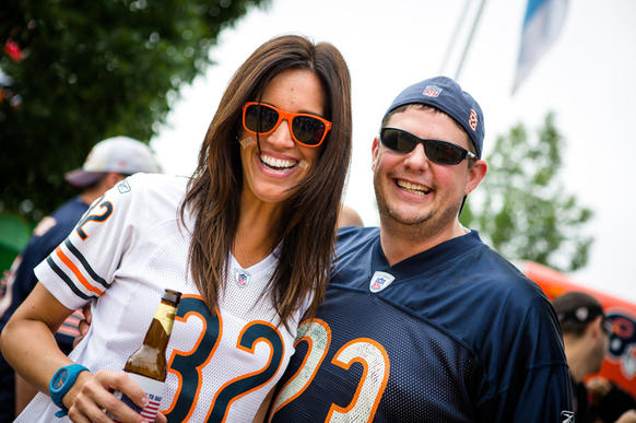 Lindsay Harmon, 37 and Ken Johnston, 35.<br> .Fulton River District (Lindsay) and East Lakeview (Ken).<br>.<br>.1. Jay Cutler; thumbs up or thumbs down?.<br> (Lindsay): Thumbs medium. I don't have the confidence in him yet to buy his jersey..(Ken): Two thumbs up .<br>.<br>.2. Give me your best tailgating pick-up line..<br> (Lindsay): Can I offer you some leftover food?.(Ken): Have you ever