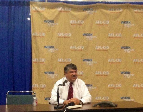 Richard Trumka, president of the AFL-CIO, addresses members of the media Sunday on the first day of the labor federation's quadrennial convention.