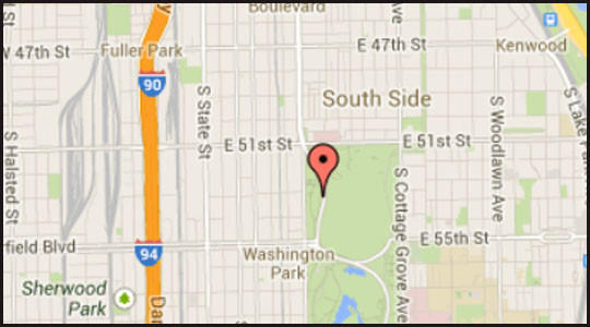 Map of location of where a man was found beaten to death in Washington Park on the city's South Side.
