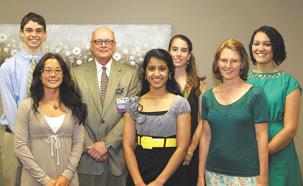 Dr. Roger Robertson, Chambersburg (Pa.) Hospital medical staff president, presented the Chambersburg Hospital Medical Staff Scholarship Award to six area residents. Pictured are, front row, from left, Angela Roach, Lakshmi Srinivas and Cynthia Weidman. Back row, Andrew Smith, Robertson, Shannon Leary and Brianna Dade.