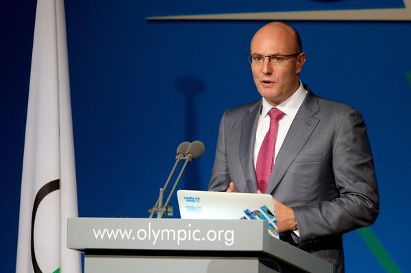 Sochi 2014 organizing committee CEO Dmitry Chernyshenko addressing the IOC members Sunday in Buenos Aires.