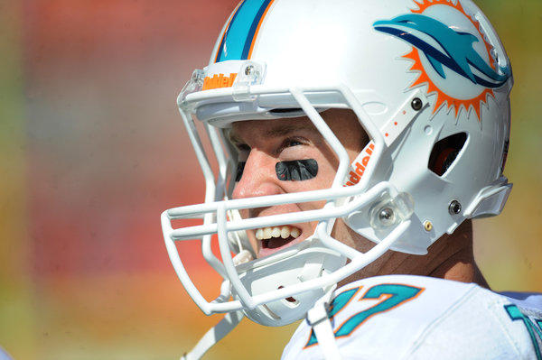Ryan Tannehill is all smiles as the game winds down.