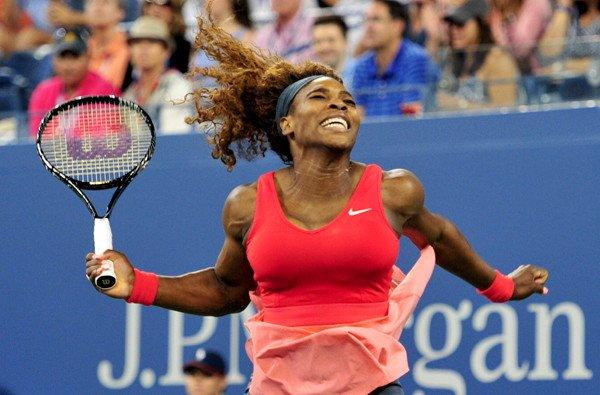 Serena Williams celebrates after defeating Victoria Azarenka for her 17th victory at a Grand Slam singles tournament.