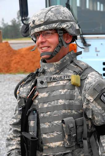 Army Spc. James Christian Paquette is shown in 2007 at the beginning of his deployment in Afghanistan. Paquette committed suicide less than two weeks after he walked into the benefits office at Ft. Wainwright, Alaska, and asked if his military life insurance policy paid in cases of suicide. He was told it did.