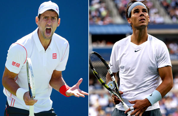 Novak Djokovic, left, is aiming for his sixth Grand Slam while opponent Rafael Nadal is seeking his 13th.