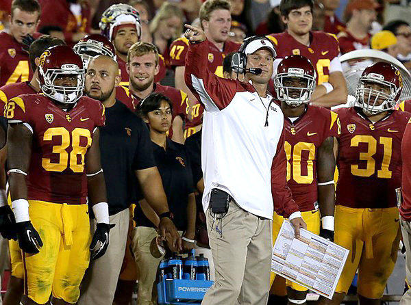 USC Coach Lane Kiffin felt the heat from angry fans as his Trojans were upset by Washington State, 10-7, Saturday at the Coliseum.