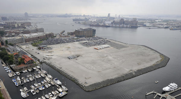 Site of the proposed Harbor Point development. Fells Point is on the left and some of the community's business owners and residents want more assurances the new development will not release a carcinogen when builders break through a concrete cap that prevents hexavalent chromium from leeching into the Inner Harbor.