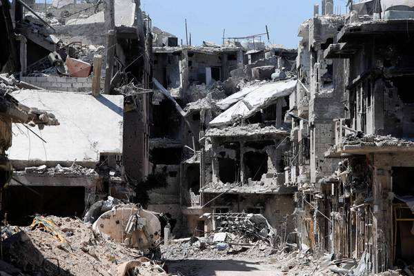 The Khalidiya district of the Syrian city of Homs, pictured in late July, is in ruins.