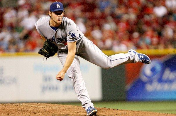Dodgers ace Clayton Kershaw gave up two runs in seven innings, a pair of solo home runs to Reds right fielder Jay Bruce.