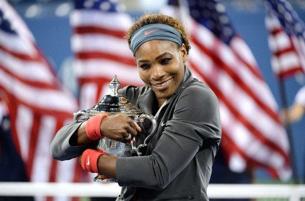 Serena Williams holds the winner's trophy after defeating Victoria Azarenka in the U.S. Open women's championship match on Sunday in New York.
