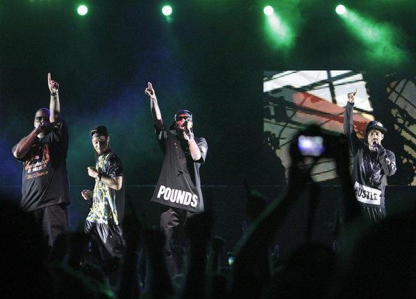 Wish Bone, Bizzy Bone, Krayzie Bone and Layzie Bone of Bones Thugs-n-Harmony in day one of Rock The Bells at San Manuel Amphitheatre in San Bernardino on Sep. 7, 2013.
