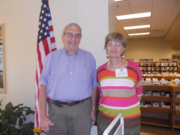 Harry Quinn and Irene Butler, members of the Friends of the Perry Hall Library, welcomed visitors at the Sept. 7 community celebration.