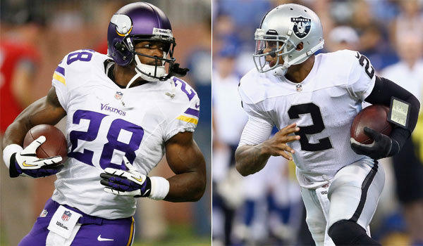 Minnesota running back Adrian Peterson, left, rushed for 93 yards on Sunday. Oakland quarterback Terrelle Pryor had 112 yards on the ground.