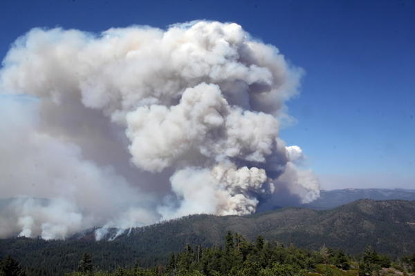This photo, obtained courtesy of the U.S. Forest Service, shows a view from Pilot Peak lookout of the Rim Fire, a wildfire threatening Yosemite National Park.