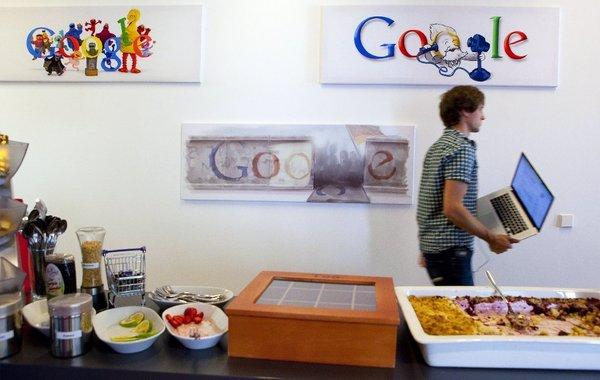 A Google employee in its Berlin offices.