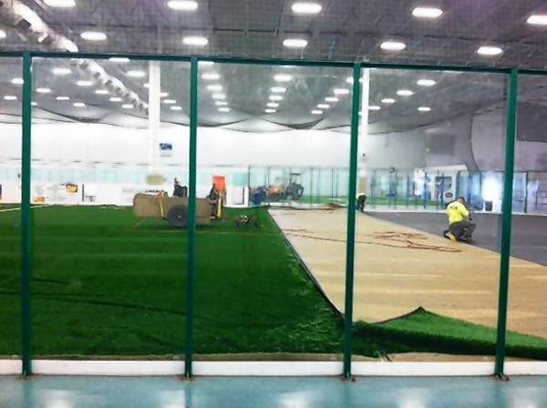 The Libertyville Sports Complex is installing new artificial turf on both of its indoor fields.