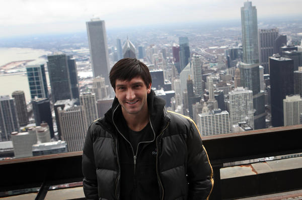 Olympic figure skating champion Evan Lysacek on the roof of the John Hancock Tower in February 2011.