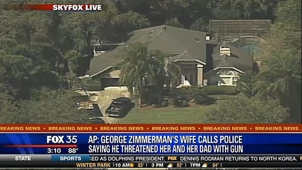 Aerial view of the house where George Zimmermna was arrested on domestic violence charges. (Total Traffic via Fox 35)