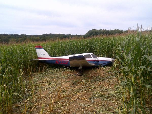 A plane crashed off County Road in Woodstock Sunday but was not discovered until Monday.