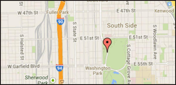 Map of location of where a man was beat to death and left in Washington Park on the South Side.