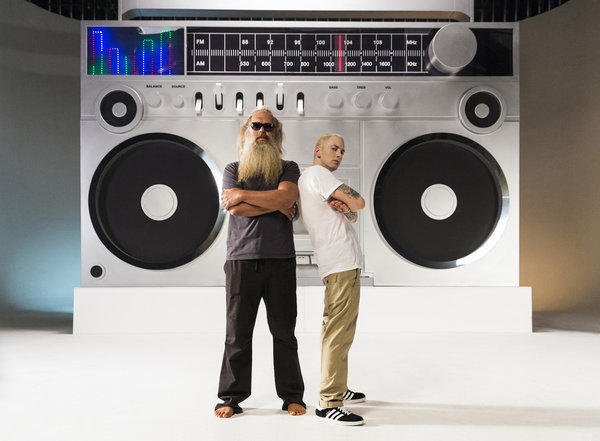 "Rapper Eminem, right, is joined by producer Rick Rubin in the music video for his new single ""Berzerk."""