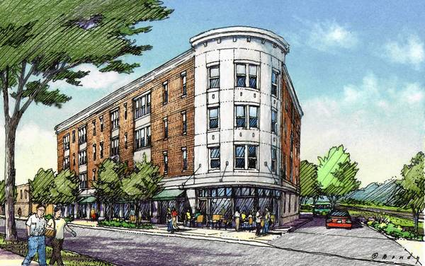 An artistic rendering of the proposed four-story mixed-use development for 515-555 Roger Williams Avenue.