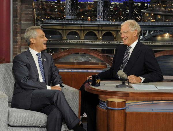 "Mayor Emanuel visits the ""Late Show with David Letterman"" on Monday. (CBS photo)"