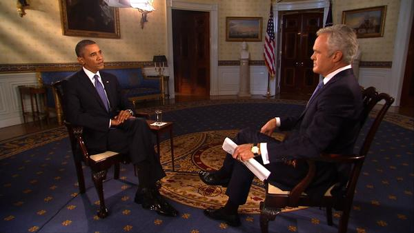 "President Obama speaks with ""CBS Evening News"" anchor Scott Pelley at the White House."