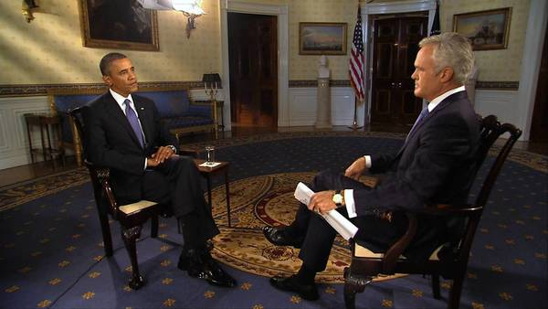 U.S. President Barack Obama speaks with CBS Evening News anchor Scott Pelley at the White House in Washington, DC. President Obama will address the American people on Syria from the White House on Tuesday.