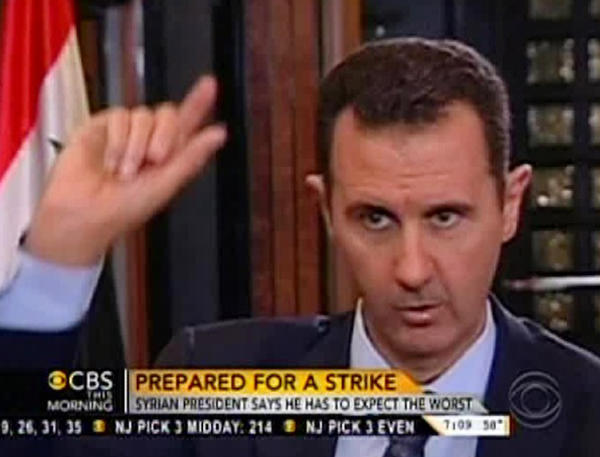 "In this frame grab from video taken Sunday and provided by ""CBS This Morning,"" Syrian President Bashar Assad responds to a question from journalist Charlie Rose during an interview in Damascus."