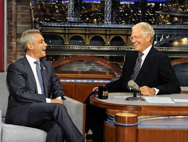 Chicago Mayor Rahm Emanuel visits Monday with talk show host David Letterman.