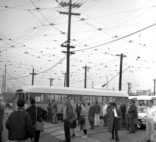 Streetcar enthusiasts gather as the last L.A. car completes its run in 1963. The proposed line would run 10 blocks down Broadway before veering west to LA Live and north through the Financial District.