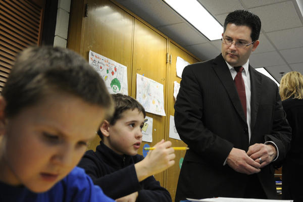 During his first day on the job, Superintendent Jeff Villar toured Windsor schools including Ben Mansur and Dillon Gold's 5th grade classroom at the Poquonock Elementary School.