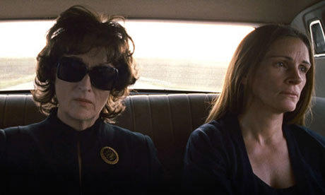 "Meryl Streep and Julia Roberts in one of the happier moments from ""August: Osage County."""