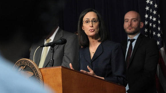 Illinois Attorney General Lisa Madigan answers questions at a news conference in July n Chicago.