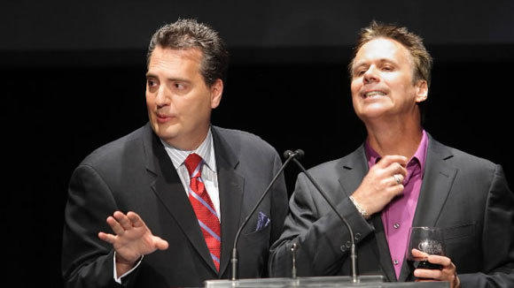 WLS-AM radio cohosts Roe Conn, Left, and Richard Roeper emcee the Chicago Film Critics Awards in 2011.