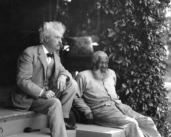 Mark Twain with his friend, John Lewis, in the permanent collection of the Mark Twain House & Museum.
