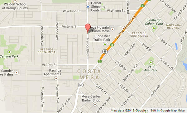 A map shows in red the approximate location where a man was found dead outside a vacant Costa Mesa house.
